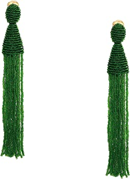 Long Beaded Tassel Clip Earrings