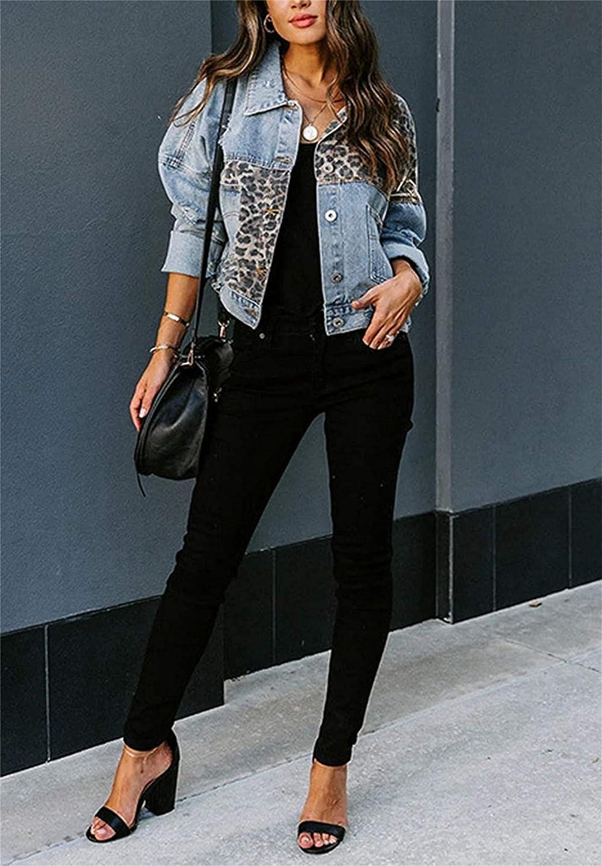 Women's Leopard Print Denim Jackets Womens Boyfriend Denim Jean Coat Jacket Long Sleeves Ripped Distressed Outwear (Small,Light Blue)