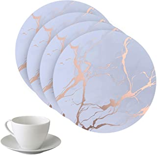 Dainty Home Marble Cork Coaster Set of 4, 4 x 4'' Round, Rose Gold