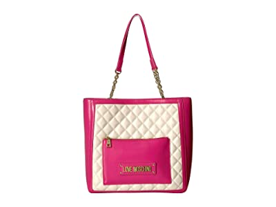 LOVE Moschino Shinny Quilted Tote (Ivory/Fuchsia) Handbags