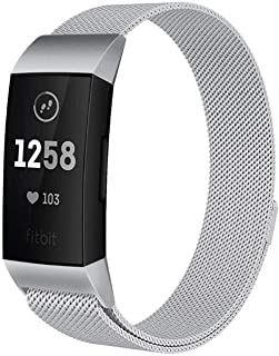 Interesting Stainless Steel Watch Band, Metal Replacement Bracelet Strap Compatible with Fitbit Charge 3 (Silver, Size S)