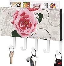 Clé murale - Crochet de clé mural, Porte-clé de courrier, Organisateur de clé de courrier, Rose rétro avec des feuilles ve...