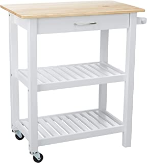 AmazonBasics Multifunction Rolling Kitchen Cart Island with Open Shelves - Natural and White
