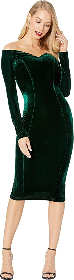 1960s Velvet Long Sleeved Cape Cod Wiggle Dress