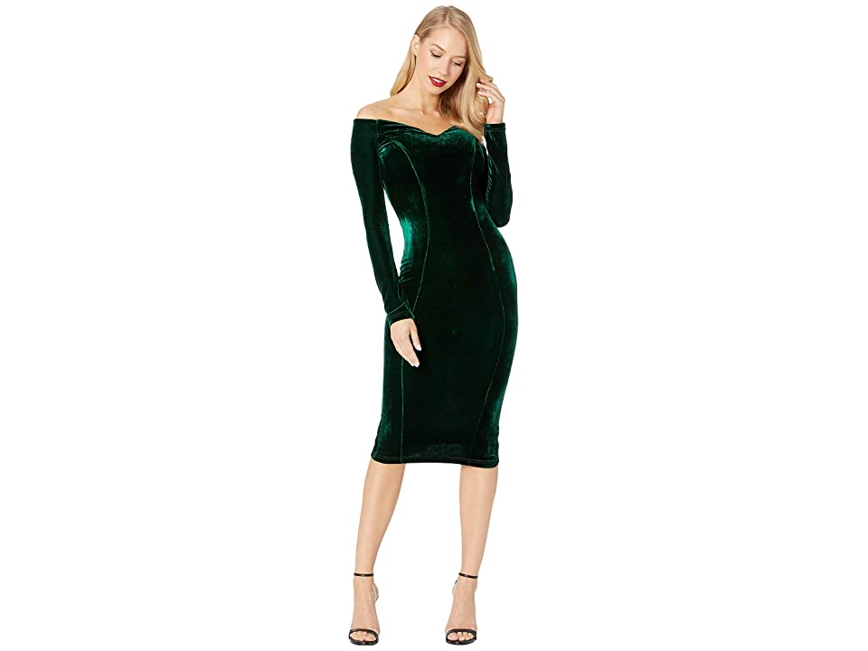 Unique Vintage 1960s Velvet Long Sleeved Cape Cod Wiggle Dress (Emerald Green) Women