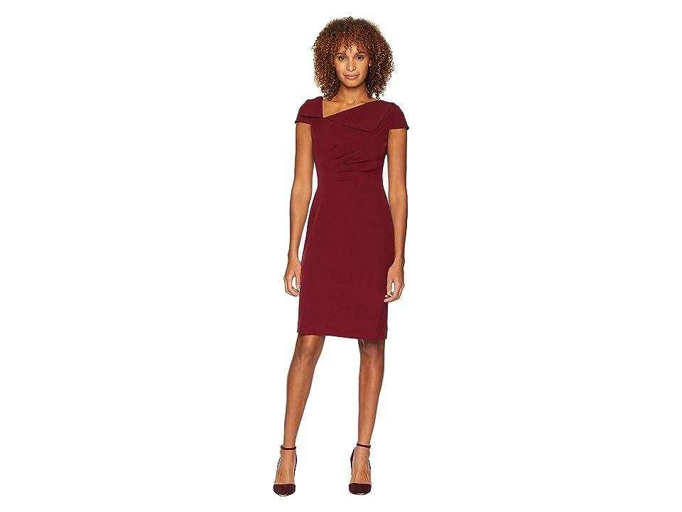 Tahari by ASL Fold-Over Collar Crepe Short Sleeve Crepe Dress (Crimson Red) Women