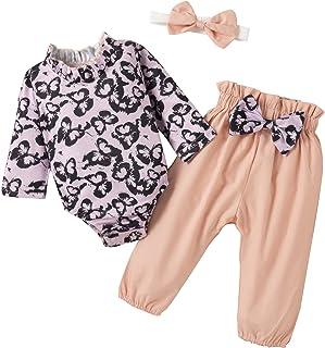 Borlai Zestaw ubrań dla noworodka dziewczynki, motyl długie rękawy, śpioszki kokarda, spodnie opaska na głowę zestaw odzieży