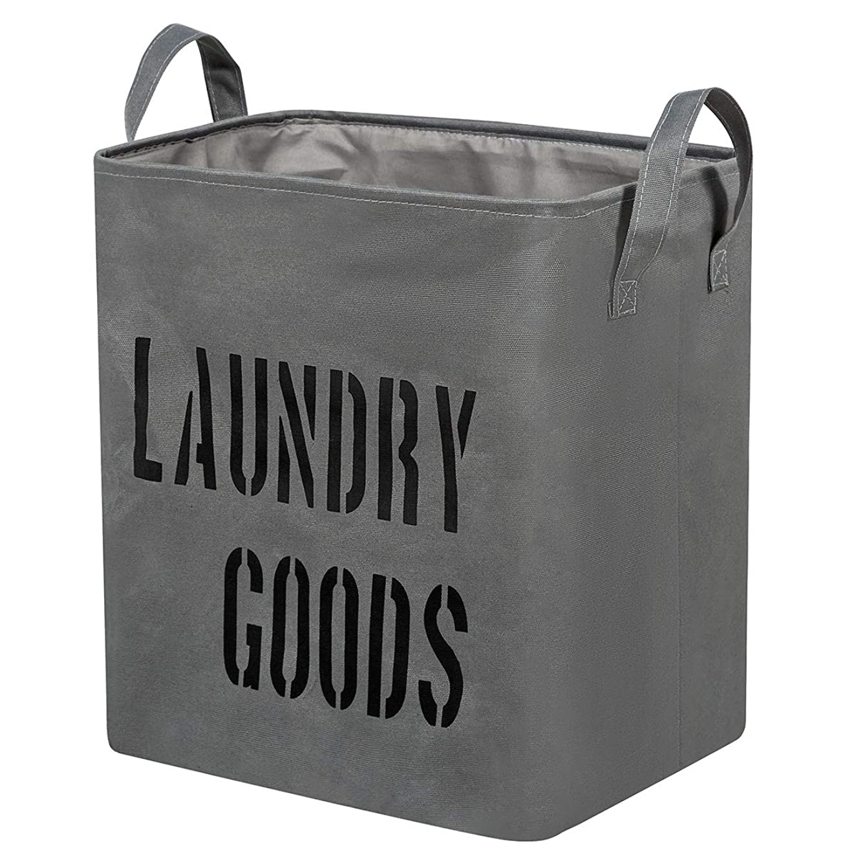 落ち着かないペルーコカインWISHPOOL ランドリーバスケット 洗濯物入れ 折りたたみ 布製 防水 取っ手付き 容量59L (グレー)