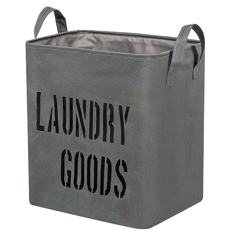 続ける可能性永久にWISHPOOL ランドリーバスケット 洗濯物入れ 折りたたみ 布製 防水 取っ手付き 容量59L (グレー)