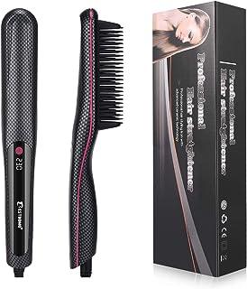 BESTBOMG Plancha de pelo barba flequillo para Los hombres Peine alisador barba alisar funciona fijador peinar Rizador de pelo Multifuncional La rápida enderezadora (Rectángulo)