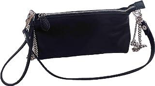 Borsa borsetta a spalla o a tracolla pochette beautycase astuccio in vera pelle pregiata e riciclata tinta unita Col. Nero...