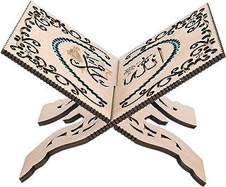 Folding Wooden Book Stand,Vintage Quran Intricate Carved Muslim Prayer Book Organizer Bookshelf for Kuran/Bible/Geeta for ...