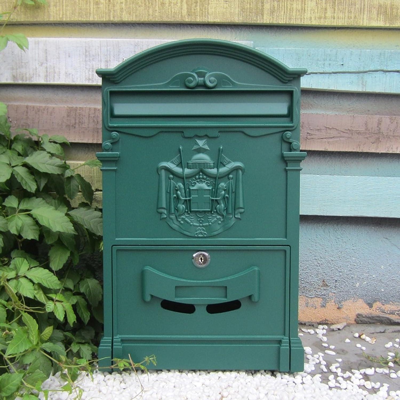 HZB ヨーロッパスタイルのヴィラ、レターボックス、屋外防水壁吊りメールボックス、庭のレトロメールボックス、壁の装飾、沙温緑
