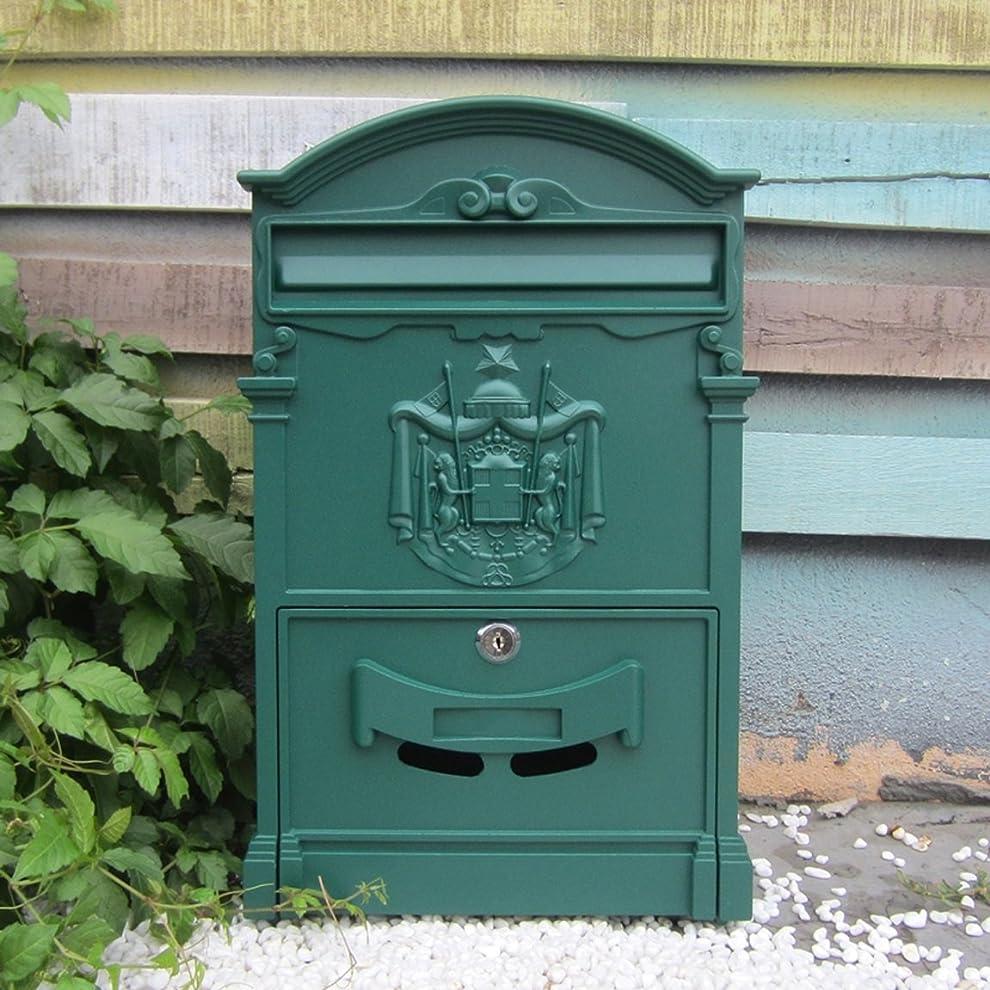 不適請負業者神秘HZBa ヨーロッパスタイルのヴィラ、レターボックス、屋外防水壁吊りメールボックス、庭のレトロメールボックス、壁掛けの装飾 (Color : Sha Wen green)
