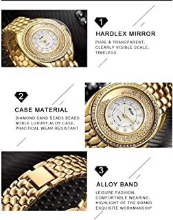 Wangyr Watch to Run Fashion High-end/Female Creative Quartz Watch/Life Waterproof Design/High Quality Unique Fashion Classic Casual Luxury Business Dress (Color : Gold)
