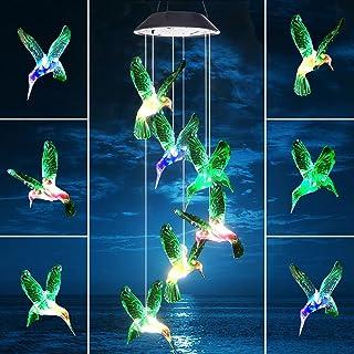 Ahtliay LED Solar Hummingbird Wind Chime Garden Decor Outdoor Waterproof Solar Lights Gifts for Mom Grandma,Automatic Ligh...