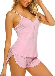 Ekouaer Camisole for Women Soft Pajama Short Set Sexy Nightwear Sleepwear (Pink,Small)