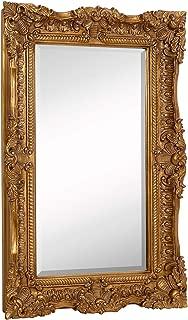 Hamilton Hills Large Ornate Gold Baroque Frame Mirror | Aged Luxury | Elegant Rectangle Wall Piece | Vanity, Bedroom, or Bathroom | Hangs Horizontal or Vertical | 100% (24