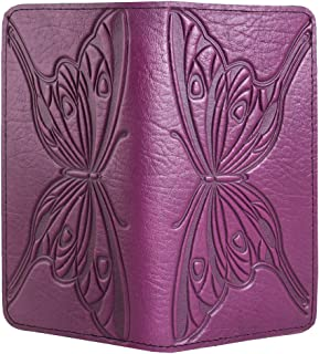 Butterfly Embossed Genuine Leather Checkbook Cover, 3.5x6.5 Inches, Orchid, Made in the USA