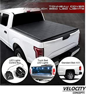 Velocity Concepts Low-Roll Lock Soft Tonneau Cover Black with LED Lights 2014-2018 for Chevy Silverado/GMC Sierra 6.5 Ft Bed