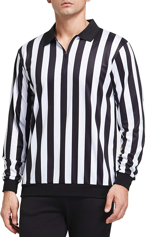 FitsT4 メンズ 公式 長袖 ブラック&ホワイト ストライプ レフェリーシャツ 審判ユニフォーム サッカー バスケットボール フットボール