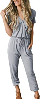 Women's Summer Casual V Neck Short Sleeve Long Pants Jumpsuit Rompers with Pockets