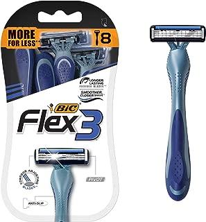 BIC Flex 3 Men's 3-Blade Disposable Razor, 8 Count