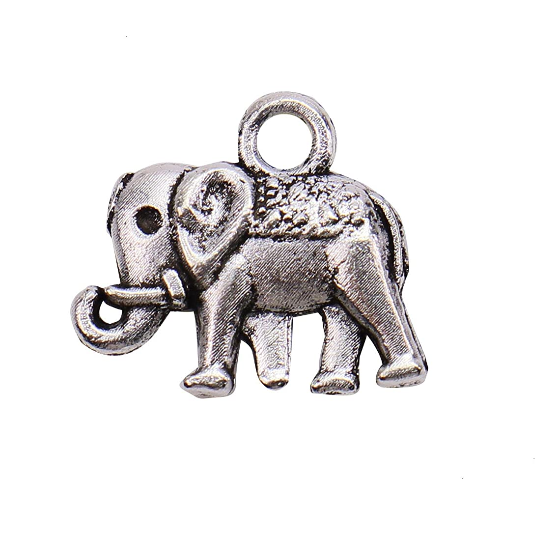Monrocco 100 Pack Silver Lucky Elephant Charms Pendant Bulk for Bracelet Jewelry Making Jewelry Crafts Supplies