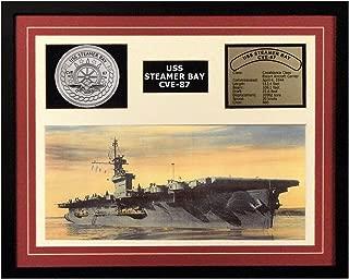 Navy Emporium USS Steamer Bay CVE 87 Framed Navy Ship Display Burgundy
