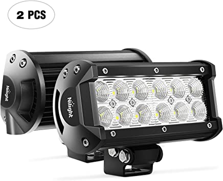 Nilight Barra de luz LED, 2 Piezas, 36 W, 6,5 Pulgadas, luz de Niebla, luz de Carretera, luz de Niebla, luz de Conducción, luz de Trabajo LED, luz de SUV, Jeep, 2 Años de Garantía