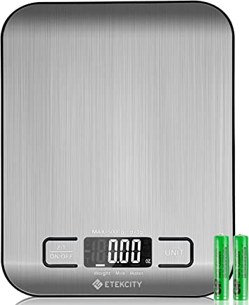 Etekcity Food Digital Kitchen Weight Scale Grams and Ounces, Small, Backlit, Stainless Steel