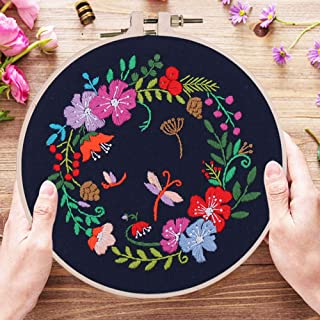 Embroidery Kit for Beginners Adults Starter Kit with Pattern DIY Cross Stitch Starter Kit 1 Embroidery Hoops and Needle Th...