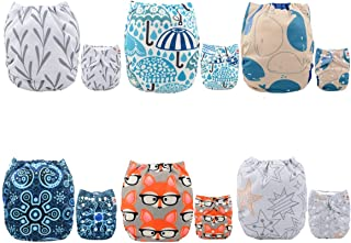 ALVABABY Cloth Diaper Reuseable Washable Adustable Pocket Newborn Infant Toddler for Baby Boys And Girls 6 Pack With 12 Inserts Setting Gift 6DM26