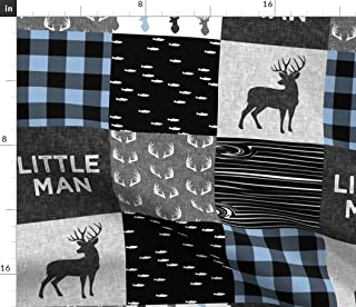 Spoonflower Fabric - Little Man Baby Blue Black