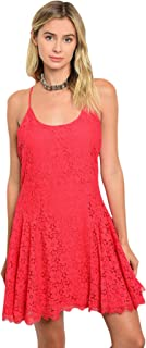 Women's Pretty Red Floral Lace Cotton Tank Dress Peasant Casual Party Cocktail