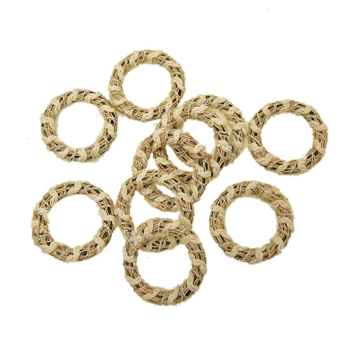 Monrocco 10Pcs Geometric Charms Burlap Jute Hemp Wire Line Circle Charm Pendant for Jewelry Making Earring DIY Craft