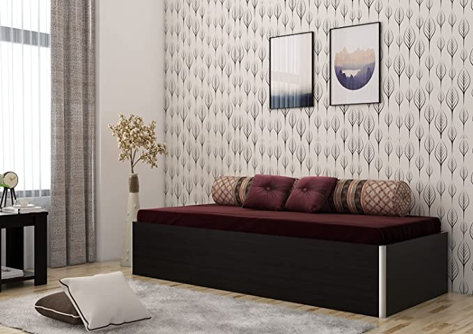 Spacewood Single Size Engineered Wood Bed with Box Storage  Particle Board   Natural Wenge