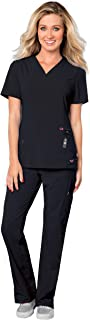 Smitten Women's Scrub Set Bundle - S101002 Rock Goddess V-Neck Top & S201002 Hottie Cargo Drawstring Flare Leg Pants & Marc Stevens Badge Reel (Black - XX-Small/XX-Small)