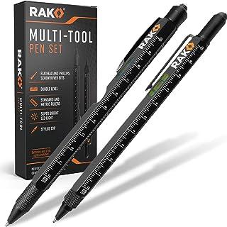مجموعه هدیه قلم RAP Multi-Tool 2Pc - نور LED ، قلم صفحه لمسی ، خط کش ، سطح ، درب بازکن بطری ، پیچ گوشتی فیلیپس ، Flathead و قلم Ballpoint