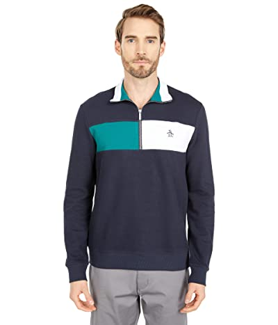 Original Penguin Long Sleeve French Rib Color-Block 1/4 Zip Sweater (Dark Sapphire) Men