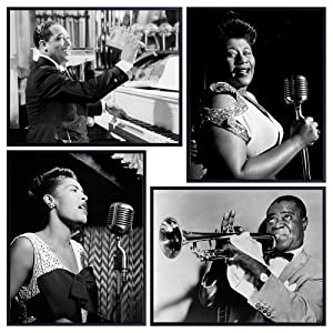 African American Musicians Vintage Photo Set - Billie Holiday, Ella Fitzgerald, Duke Ellington, Satchmo, Louis Armstrong - Black History Wall Art Decor Gift - Famous Jazz Music Musicians Pictures