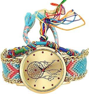 Monbedos Ladies Montre-Bracelet–tressée Attrape-rêves–Bracelet Bohême Watche à Bracelet à Quartz Cadeau Dialwatch pour...
