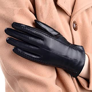 Womens Leather Gloves Winter Warm Lining Driving Gloves