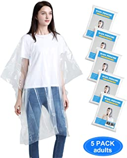 OSTSOFFICE Rain Ponchos for Adults - Disposable Rain Ponchos for Women and Men, Premium Quality Thicker Emergency Rain Ponchos with Hood for Concerts, Amusement Parks, Camping and More - 5 Pack, Clear