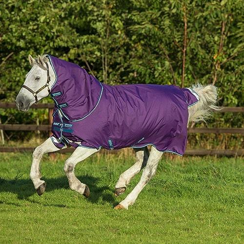 Horseware Amigo Bravo 12 Plus Pony Lite Turnout Rug 95cm violet Navy & Aqua