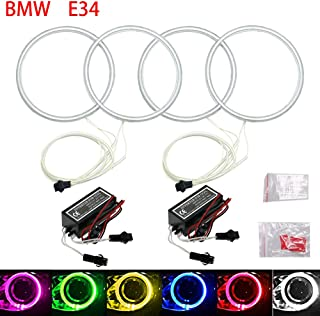 Qiuko 4x120mm Car CCFL Halo Rings Angel Eyes LED Headlights for BMW E32 E34 E30 DRL Car-Styling 6-Color (white)