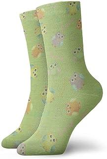 Calcetines de algodón para bebé, diseño de búhos, color verde