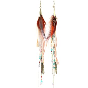 Colorful Bohemian Feather Dangle Drop Earring Gifts for Women Girls Jewelry000001001160