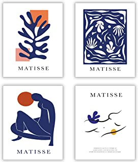 HerZii Prints Henri Matisse Posters and Picasso Wall Art - Set of 4 Matisse Prints and Picasso Posters Henri Matisse Print...