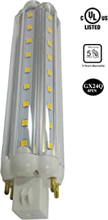 MASSIMUM 12W LED Corn Bulb,40W Metal Halide/HPS/HID Replacement 1300 Lumen GX24Q 4PIN Warm White 3000K Clear Cover 360 Degree Beam Angle,IP64 Waterproof,UL/DLC Listed,Indoor Home Decorative Lighting